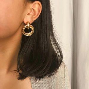 Jewelry - Morden Minimalist Double Gold Hoop Earrings